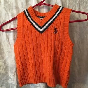 US Polo Assn. orange and navy sweater vest-24 mos.